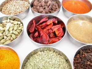 bowls of spices